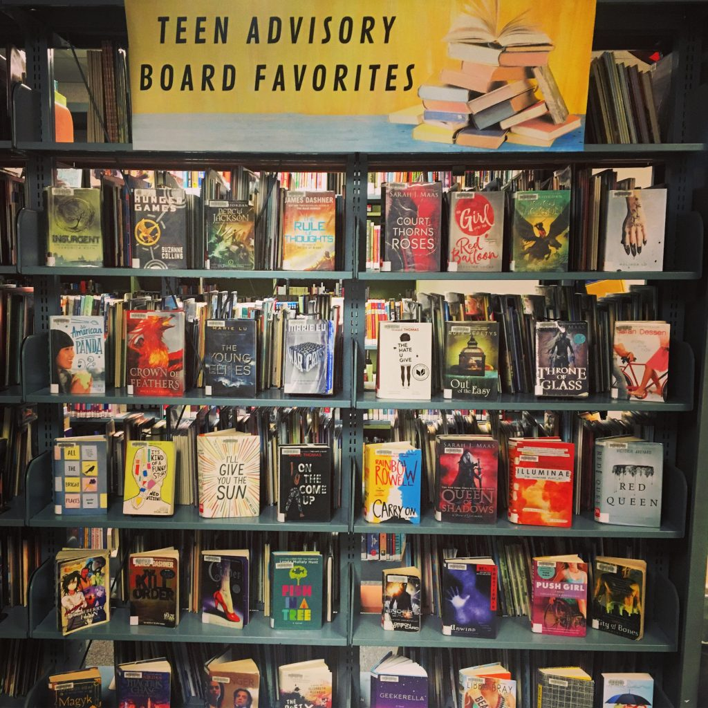 """Library book display with sign that reads """"Teen Advisory Board Favorites"""""""