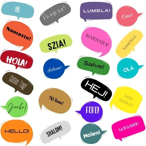 Image of a bunch of different colored speech bubble haphazardly scattered on a white backdrop with different greetings in different languages