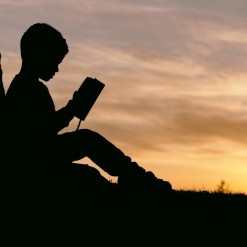 Image of shiloutette of a child reading a book against a tree while the sunsets