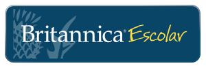Britannica thistle flower logo on blue background text reads Britannica Escolar