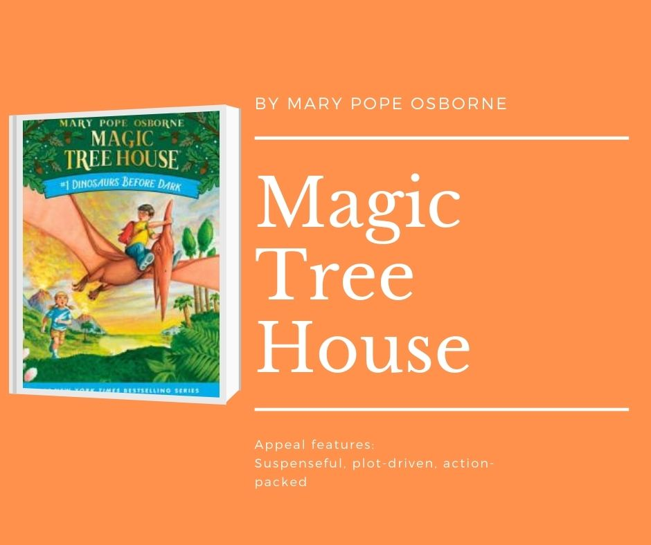 Image of Magic Tree House Dinosaurs before Dark book cover. Text reads by Mary Pope osborne. magic tree house. appeal features: suspenseful, plot-driven, action-packed