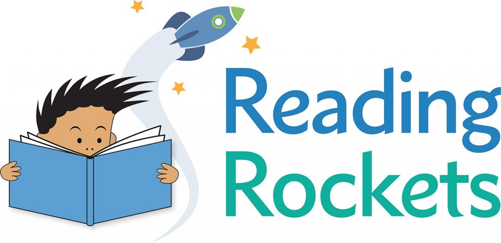 Image of a child with black spiky hair reading a blue book while a rocket launches into the stars behind their head. text reads 'reading rockets