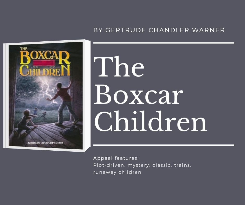 Image of the cover of the first boxcar children book. text reads by gertrude chandler warner. the boxcar children. appeal features: plot-driven, mystery, classic, trains, runaway children