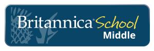 Britannica thistle flower logo on blue background. text reads britannica school middle