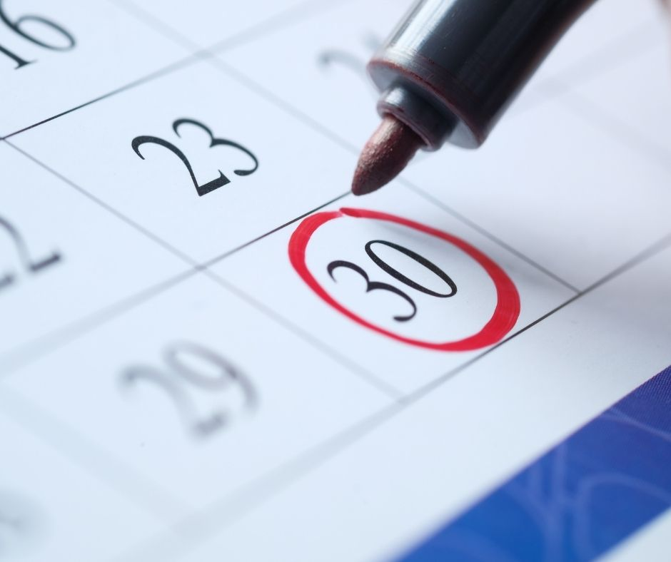 Image description: a red pen circling the number 30 on a monthly calendar