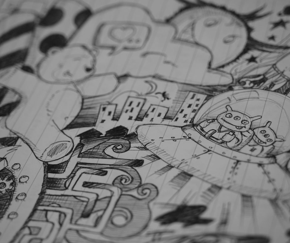 Image of a hand drawn doodle page with a giant teddy bear and an alien space ship and a cityscape in the background
