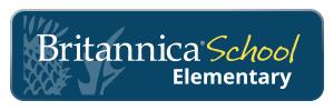 Britannica thistle flower logo on blue background. text reads britannica school elementary