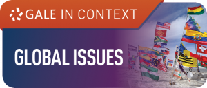 Text on purple and orange background reads gale in context global issues next to an image of flag poles flying many different flags