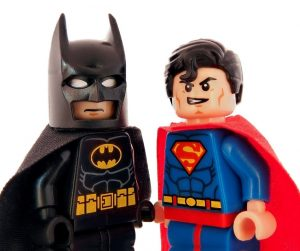 Image of lego batman and lego superman staring at you