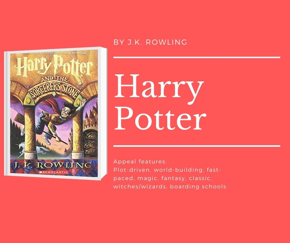 Image of Harry Potter and the sorcerer's stone cover text reads by j.k. rowling. harry potter. appeal features: plot-driven. world-building, fast-paced, magic, fantasy, classic, witches/wizards, boarding schools