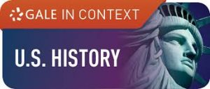 text on purple and orange background reads gale in context u.s. history next to image of statue of liberty's face