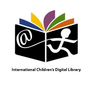 Image of a child pulling an @ as if it were a string or kite. child is running across the cover of black book with pages that fan out in bright colors (blue yellow purple green and orange) text reads international children's digital library