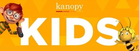 text reads 'kanopy kids' on a bright orange background with a red haired kid and yellow haired bee waving frantically from the corners