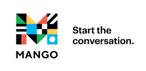 Image of a capitalized M with different patterns and color blocks on it. text reads Mango: Start the conversation