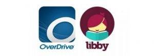 Logo for overdrive (italized grey o over a blue background) and logo for libby (red haired minimalist person with red lips reading a teal book) text reads overdrive libby