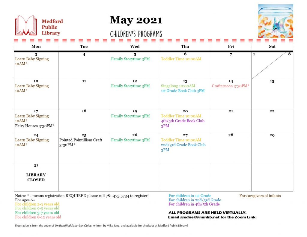 Image of calendar for May 2021. Daily program listings are color coded by age group. For a complete listing of programs please call 781-475-5734