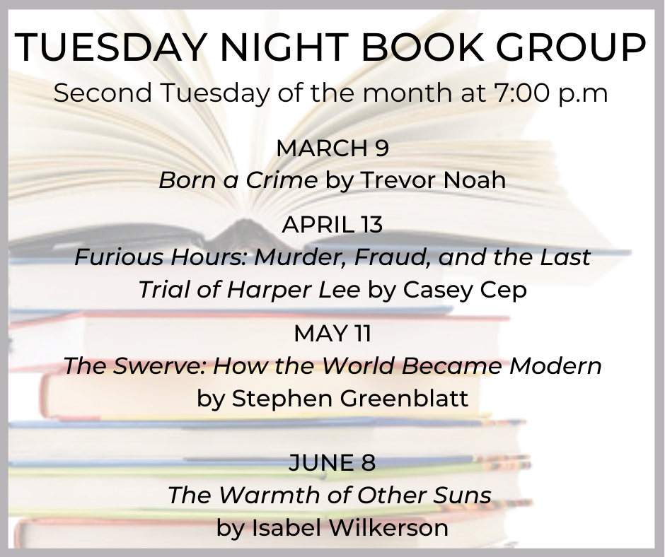 Tuesday Night Book Group Zoom event image