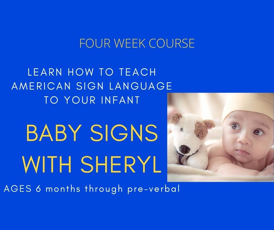 Image of a baby and stuffed animal. text reads 'learn how to teach american sign language to your infant with baby signs with sheryl. ages 6 months through pre-verbal. four week course runs 10am on mondays may 3, may 10, may 17 and may 24. sign up required. email ssednek@minlib.net for more information.