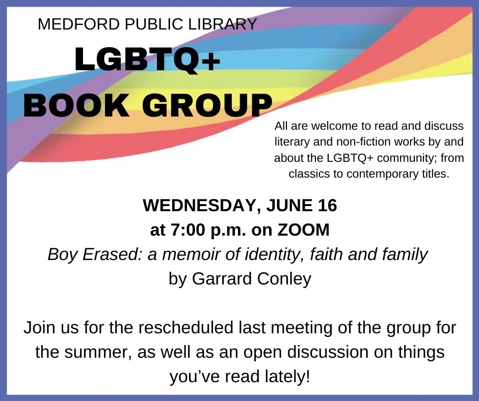 LGBTQ+ Book Group Zoom event image