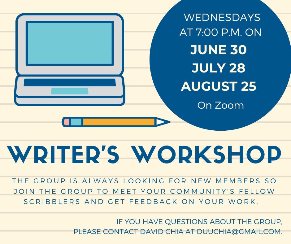 Writer's Workshop Summer 21 Zoom event image