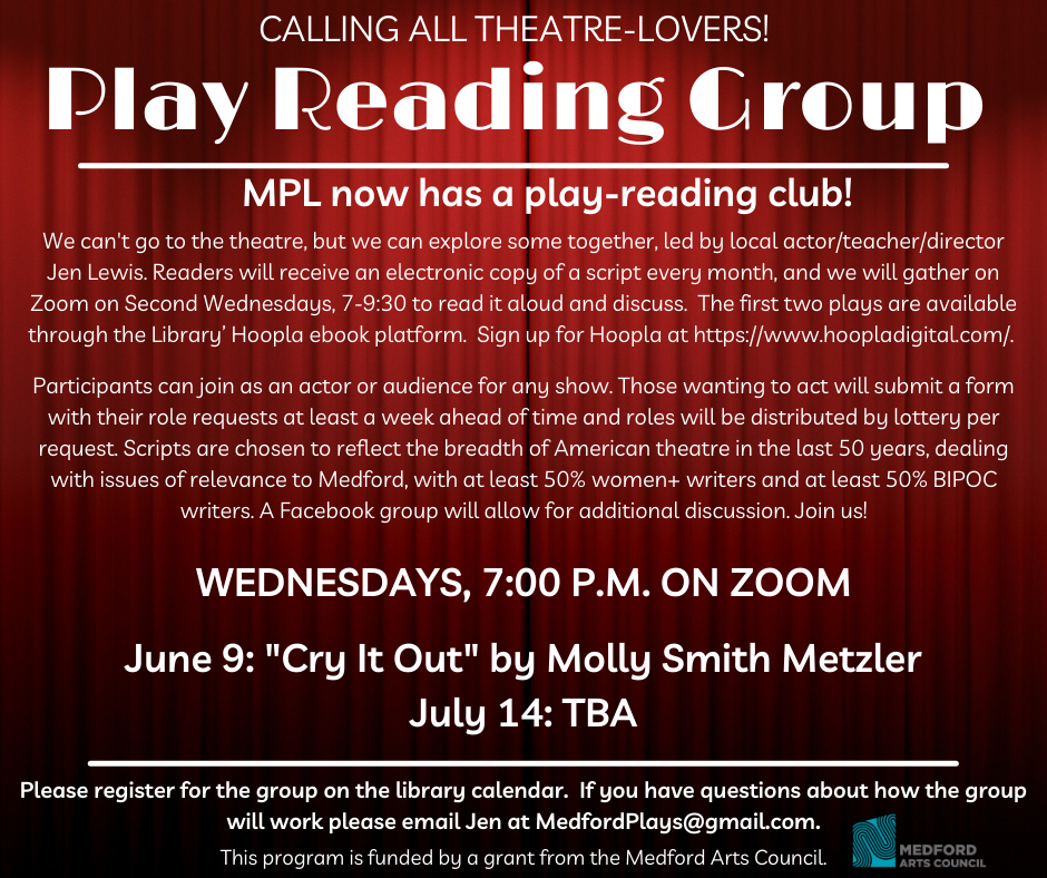 Summer Play Reading Group Zoom event flier