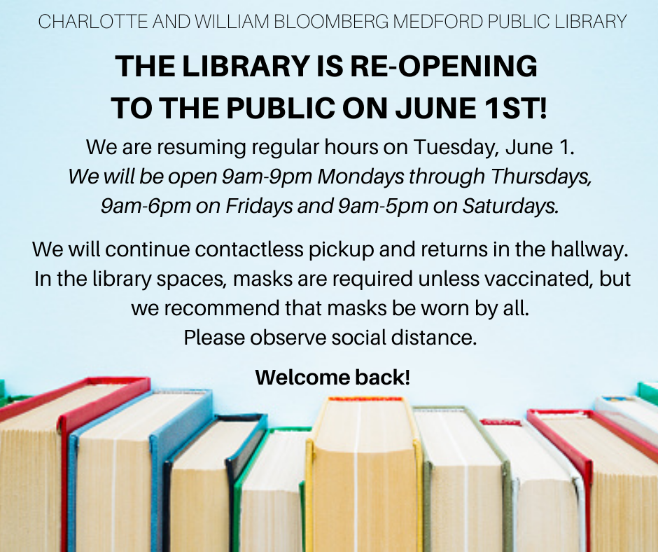 The Library is re-opening to the public on June 1st.