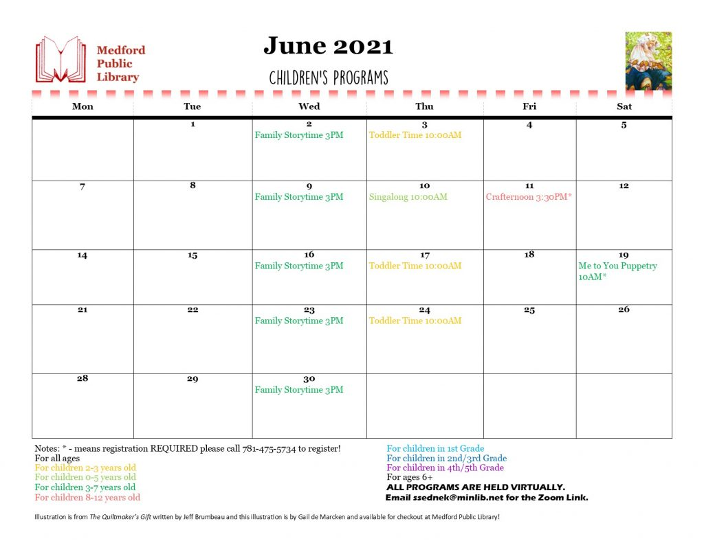 Image of a monthly calendar for June 2021 with color-coded children's events on it. Please call 781-475-5734 for a complete rundown of the monthly children's events.