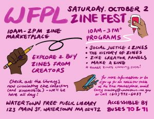 Zine Fest Flyer at the Watertown Free Public Library
