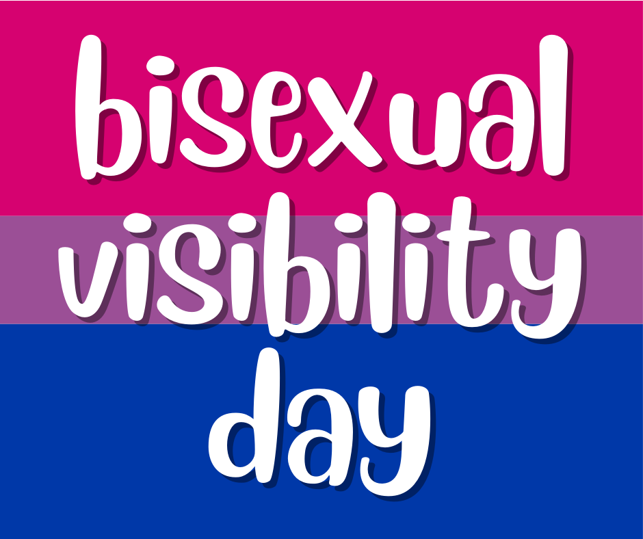 image text reads bisexual visibility day on a background that has the pink, purple, blue colors of the bisexual pride flag
