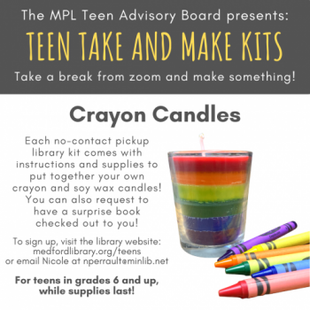 Flyer for June Take and Make Kit: Crayon Candles