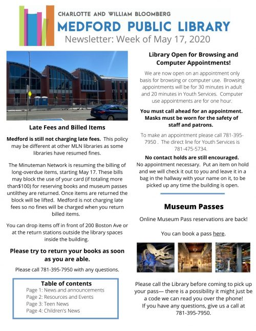 MPL Newsletter week of 5-17, page 1