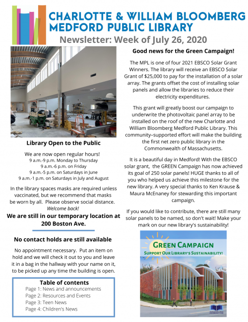MPL Newsletter, week of 7/26/21, page 1. Click to view full text!
