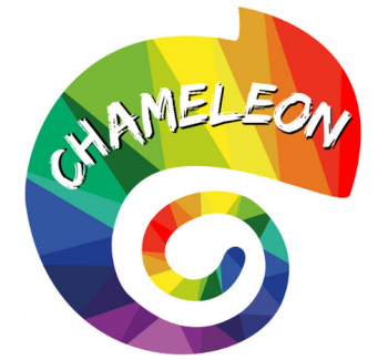 Chameleon Logo - a rainbow shaded chameleon