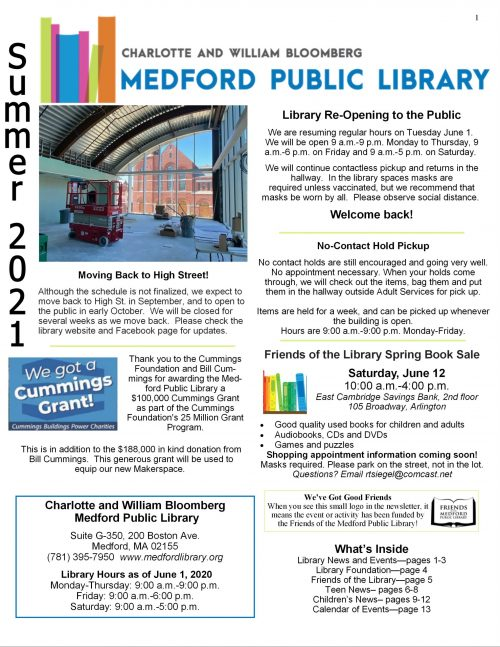 MPL Newsletter Summer 2021 page 1. Click for full text.
